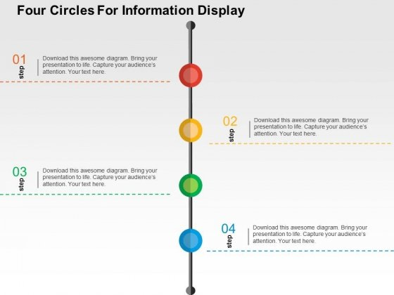 Four Circles For Information Display Powerpoint Templates