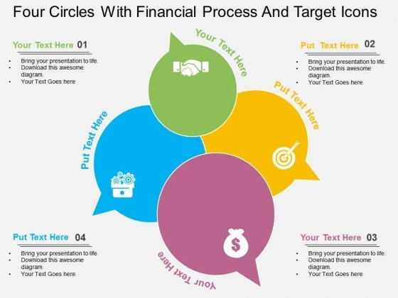 Four Circles With Financial Process And Target Icons Powerpoint Template