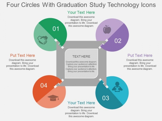 Four Circles With Graduation Study Technology Icons Powerpoint Template