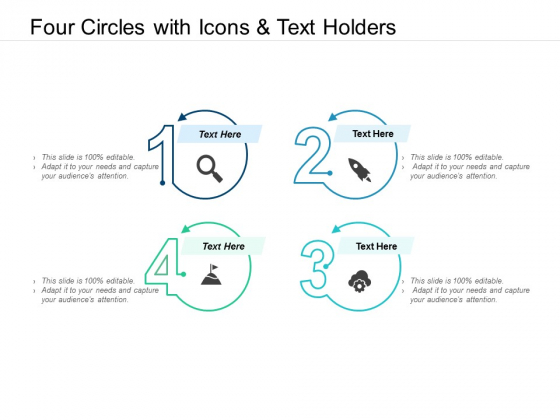Four Circles With Icons And Text Holders Ppt PowerPoint Presentation Inspiration Pictures