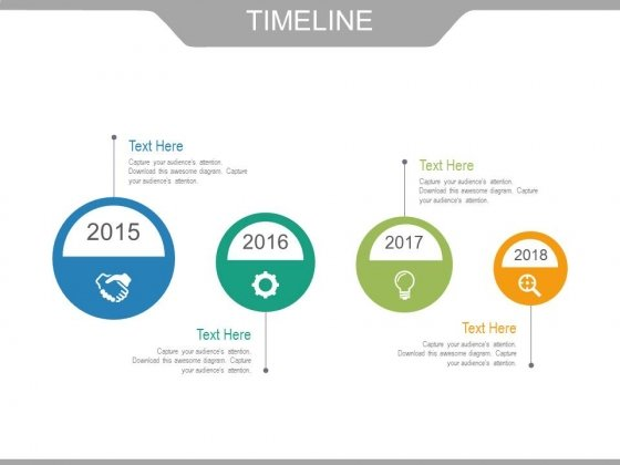 Four Circles With Icons Timeline Design Powerpoint Slides