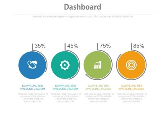 Four Circles With Percentage Values And Icons Powerpoint Slides