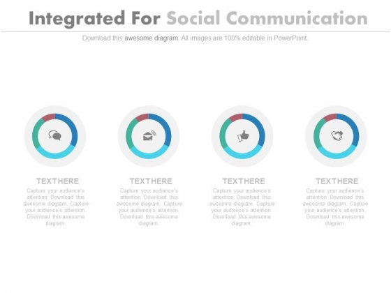 Four Circles With Social Communication Icons Powerpoint Slides