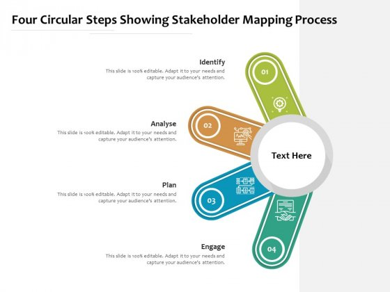Four Circular Steps Showing Stakeholder Mapping Process Ppt PowerPoint Presentation Infographic Template Tips PDF