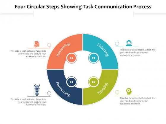 Four Circular Steps Showing Task Communication Process Ppt PowerPoint Presentation Outline Infographics PDF