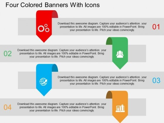 Four Colored Banners With Icons Powerpoint Template