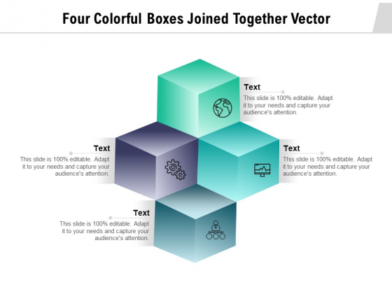 Four Colorful Boxes Joined Together Vector Ppt PowerPoint Presentation Infographics Icons PDF