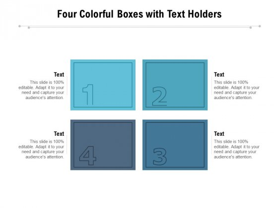 Four Colorful Boxes With Text Holders Ppt PowerPoint Presentation Professional Elements PDF