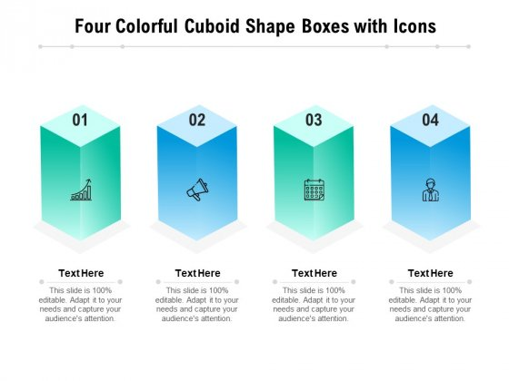 Four Colorful Cuboid Shape Boxes With Icons Ppt PowerPoint Presentation Pictures Gallery PDF