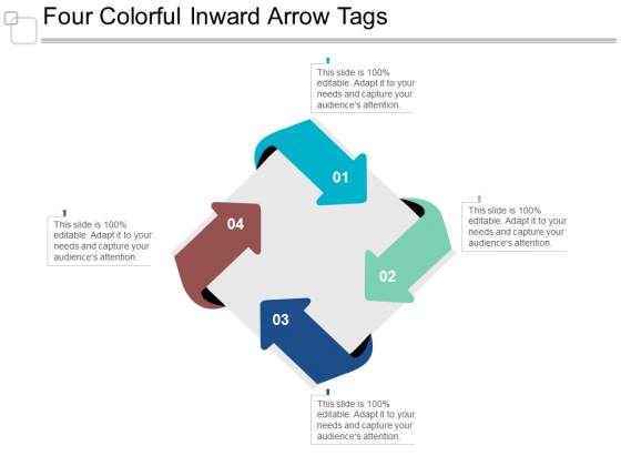 Four Colorful Inward Arrow Tags Ppt Powerpoint Presentation Gallery Rules