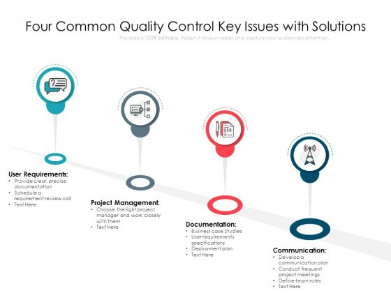 Four Common Quality Control Key Issues With Solutions Ppt PowerPoint Presentation File Portfolio PDF