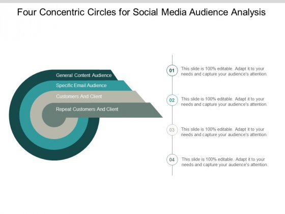 Four Concentric Circles For Social Media Audience Analysis Ppt PowerPoint Presentation Infographic Template Graphics