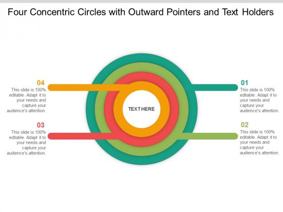 Four Concentric Circles With Outward Pointers And Text Holders Ppt Powerpoint Presentation Model Objects