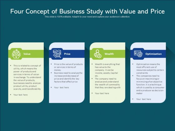 Four Concept Of Business Study With Value And Price Ppt PowerPoint Presentation Gallery Sample PDF