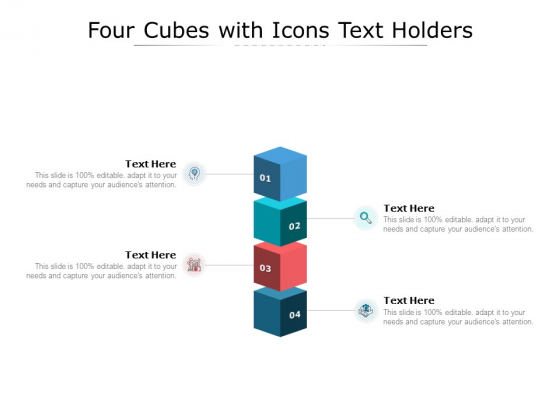 Four Cubes With Icons Text Holders Ppt PowerPoint Presentation Infographic Template Summary