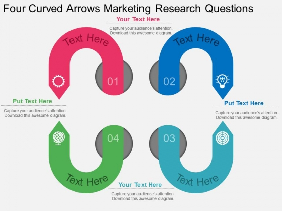 Four Curved Arrows Marketing Research Questions Powerpoint Template
