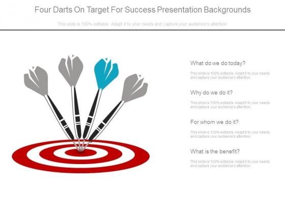 Four Darts On Target For Success Presentation Backgrounds