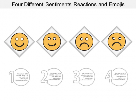Four Different Sentiments Reactions And Emojis Ppt Powerpoint Presentation Inspiration Background Image