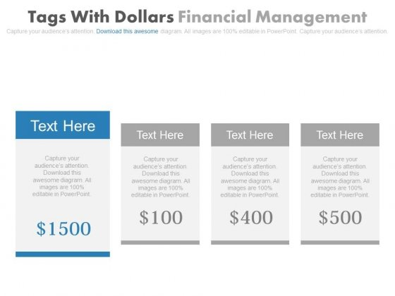 Four Dollar Tags For Corporate Entrepreneurship Powerpoint Slides