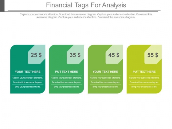 Four Dollar Value Financial Tags For Analysis Powerpoint Slides