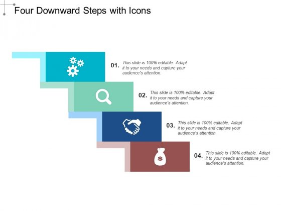 Four Downward Steps With Icons Ppt PowerPoint Presentation Template