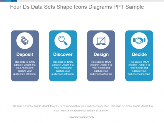 Four Ds Data Sets Shape Icons Diagrams Ppt PowerPoint Presentation Guidelines