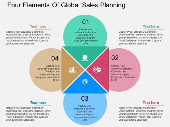 Four Elements Of Global Sales Planning Powerpoint Template