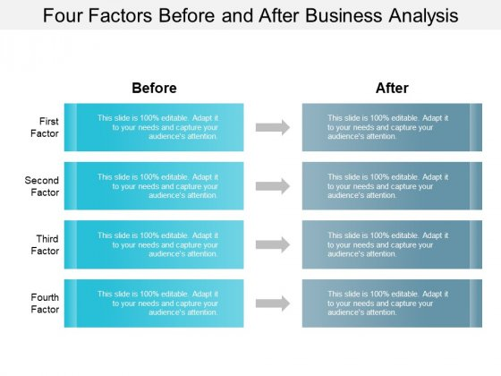 Four Factors Before And After Business Analysis Ppt PowerPoint Presentation Inspiration Demonstration