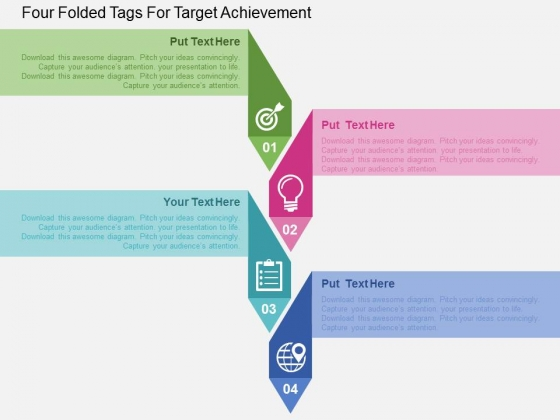 Four Folded Tags For Target Achievement Powerpoint Templates