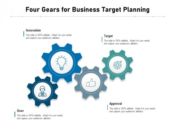Four Gears For Business Target Planning Ppt PowerPoint Presentation Slides Examples PDF