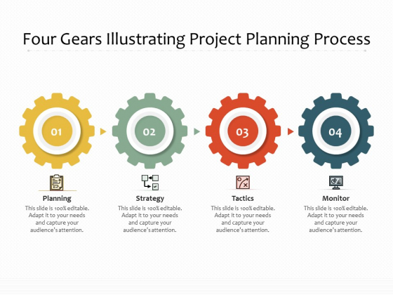 Four Gears Illustrating Project Planning Process Ppt PowerPoint Presentation Model Pictures PDF