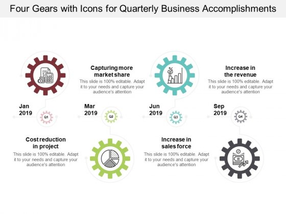 Four Gears With Icons For Quarterly Business Accomplishments Ppt Powerpoint Presentation Show Outfit
