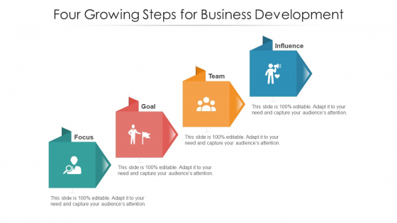 Four Growing Steps For Business Development Ppt PowerPoint Presentation File Professional PDF