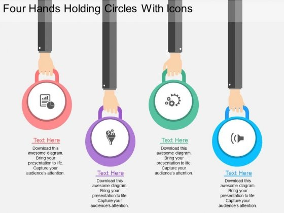 Four Hands Holding Circles With Icons Powerpoint Template