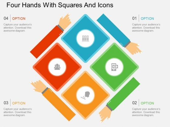 Four Hands With Squares And Icons Powerpoint Template