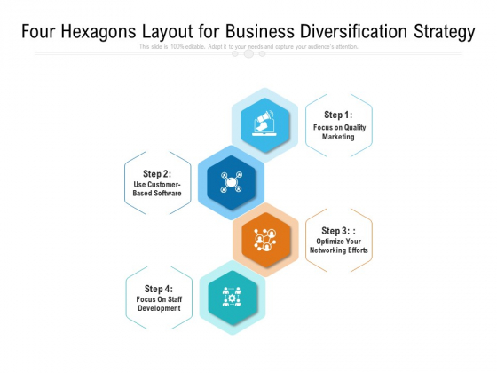 Four Hexagons Layout For Business Diversification Strategy Ppt PowerPoint Presentation File Infographic Template PDF