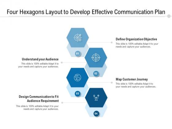 Four_Hexagons_Layout_To_Develop_Effective_Communication_Plan_Ppt_PowerPoint_Presentation_Icon_Portfolio_PDF_Slide_1