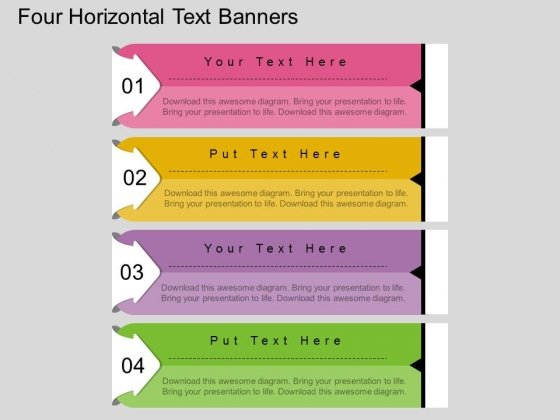 Four Horizontal Text Banners Powerpoint Template