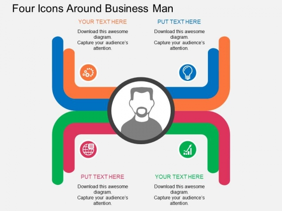 Four Icons Around Business Man Powerpoint Templates