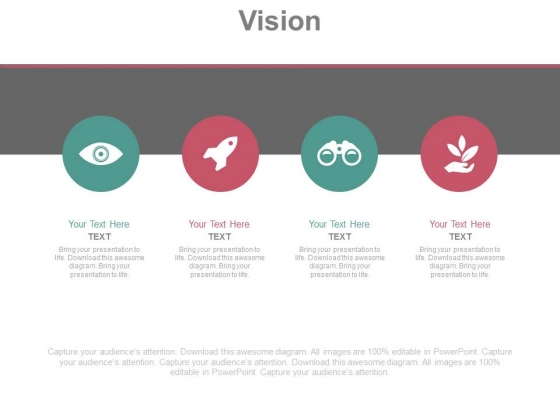 Four Icons For Business Vision Powerpoint Slides