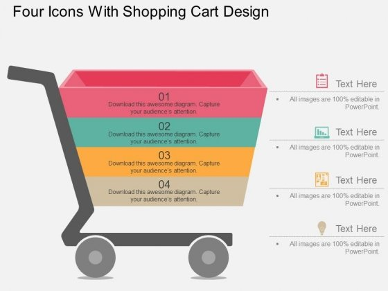 Four Icons With Shopping Cart Design Powerpoint Template