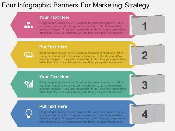 Four Infographic Banners For Marketing Strategy Powerpoint Template
