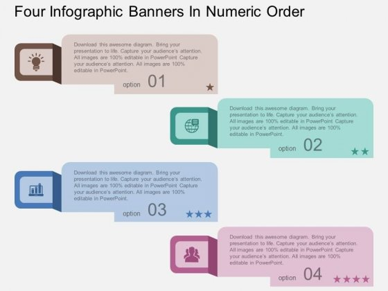 Four Infographic Banners In Numeric Order Powerpoint Template