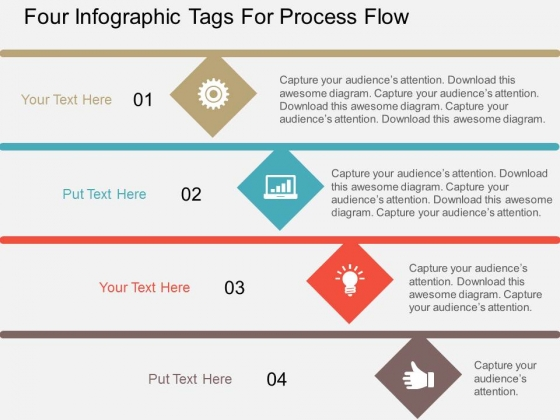 Four Infographic Tags For Process Flow Powerpoint Template ...