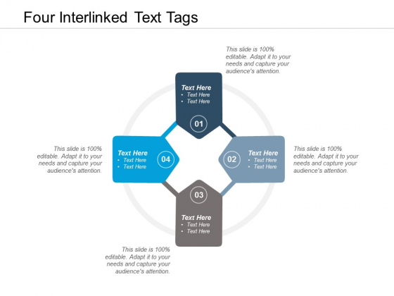 Four Interlinked Text Tags Ppt PowerPoint Presentation Summary Icons