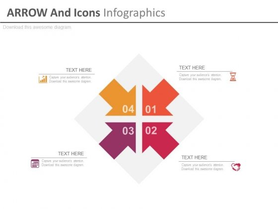 Four Inward Arrows With Icons Powerpoint Template