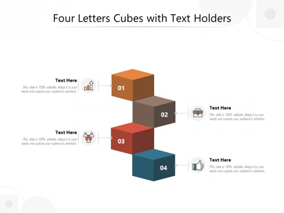 Four Letters Cubes With Text Holders Ppt PowerPoint Presentation Layouts Smartart