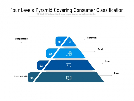 four levels pyramid covering consumer classification ppt powerpoint presentation gallery sample pdf
