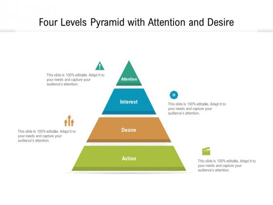 four levels pyramid with attention and desire ppt powerpoint presentation icon designs download pdf