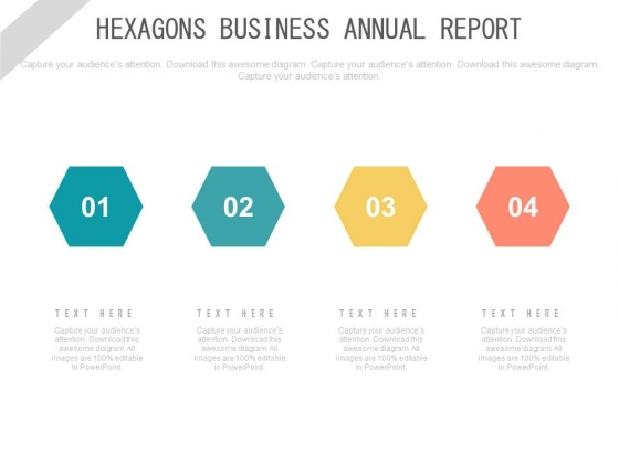 Four Linear Hexagons For Process Flow Powerpoint Template